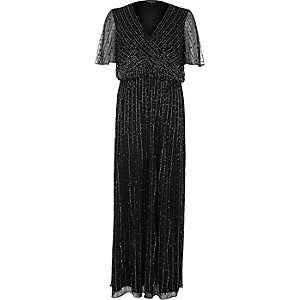 Black embellished chiffon maxi dress