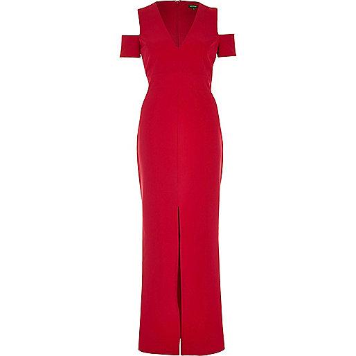 Red cold shoulder plunge maxi dress