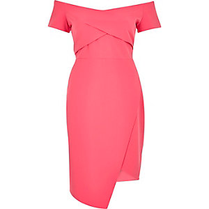 Pink wrap bardot dress