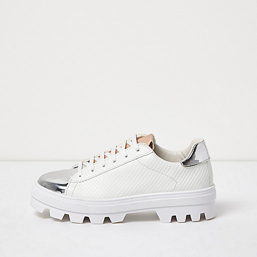 White metallic trim cleated sole trainers
