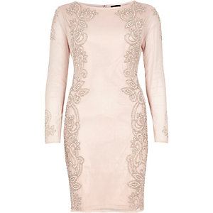 Light pink embellished mesh dress
