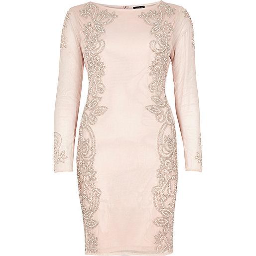 Light pink embellished mesh dress