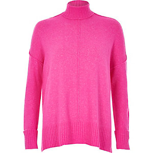 Bright pink seam detail boxy sweater