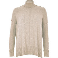 Oatmeal turtleneck boxy jumper