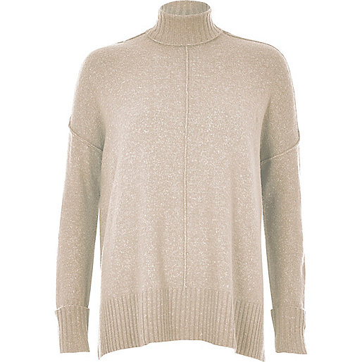 Oatmeal turtleneck boxy sweater