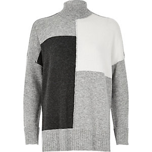 Grey color block roll neck sweater