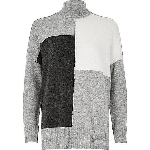 Pull colour block gris à col roulé