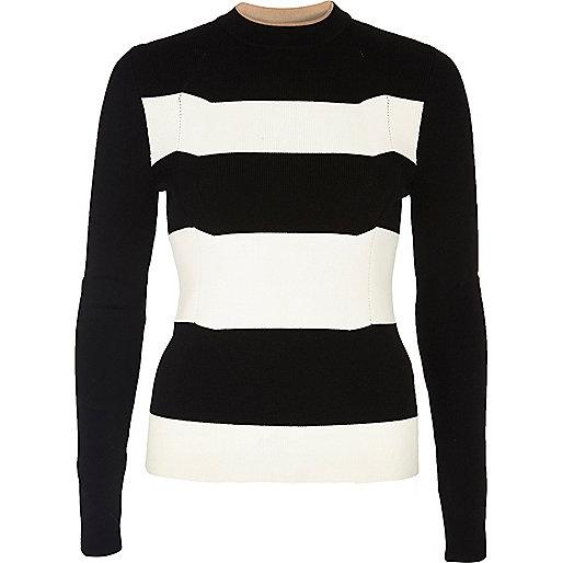 Black stripe knit top
