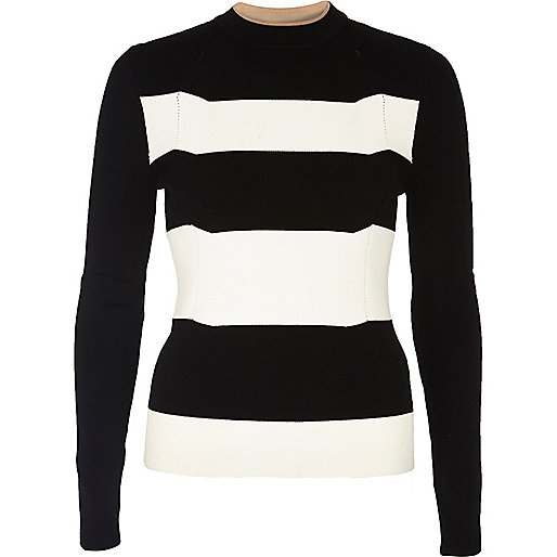Top en tricot à rayures noir