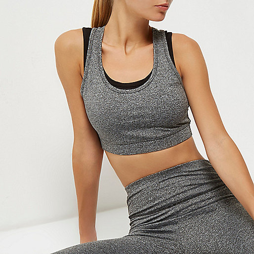 RI Active grey mesh layered sports bra
