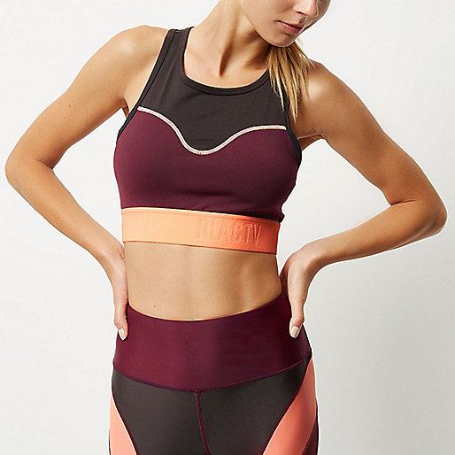 RI Active dark red block sports bra