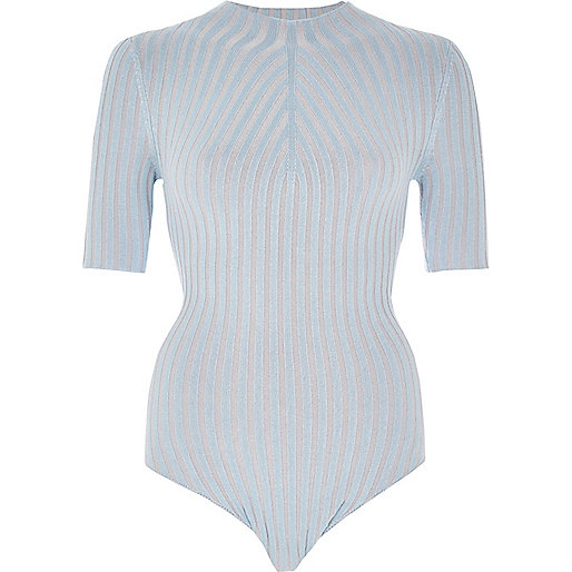 Light blue ribbed high neck bodysuit