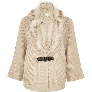 Oatmeal faux fur trim cape cardigan