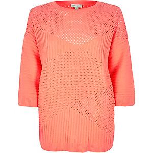 Fluro orange pointelle soft knit jumper