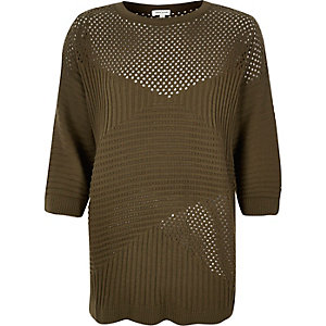 Khaki pointelle soft knit jumper