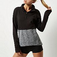 RI Active black layered block gym top