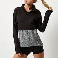 Top de sport RI Active noir effet superposé colour block
