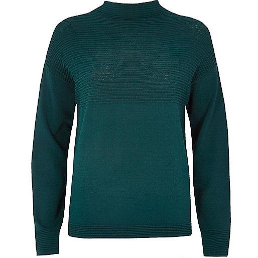 Dark green ribbed jumper