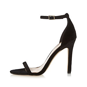 Black velvet barely there heeled sandals