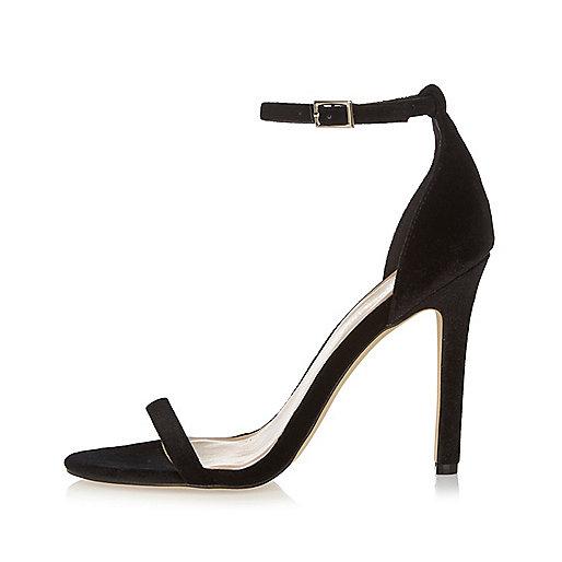 Sandales minimalistes en velours noir à talons