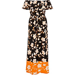Black print bardot maxi dress