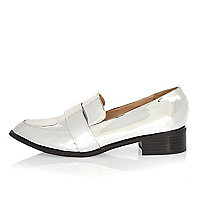 Silver patent low heel loafers