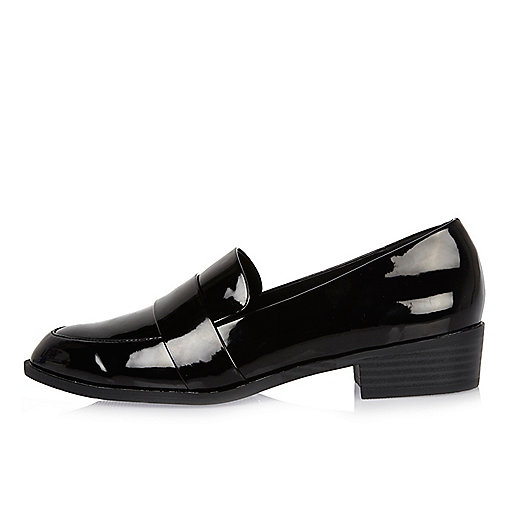 Black patent low heel loafers