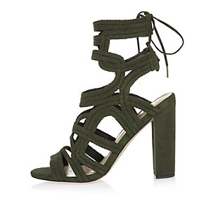 Khaki braided cage heel sandals