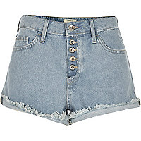 Light blue wash distressed Ruby denim shorts