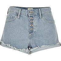 Short en jean usé à délavage bleu clair Ruby