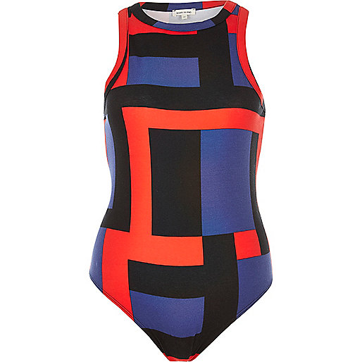 Red block print crew neck bodysuit