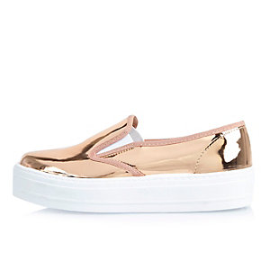 Metallic rose gold flatform plimsolls