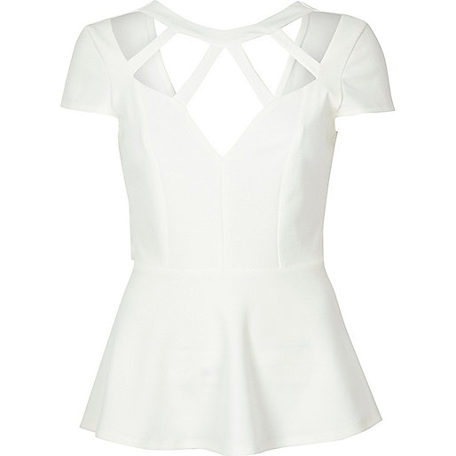 White caged neck peplum top