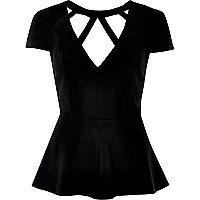 Black caged neck peplum top