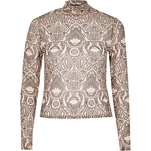 Beige print mesh high neck top