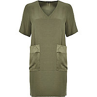 Khaki contrast pocket swing dress