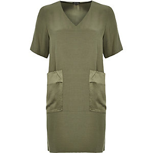 Khaki contrast pocket swing dress