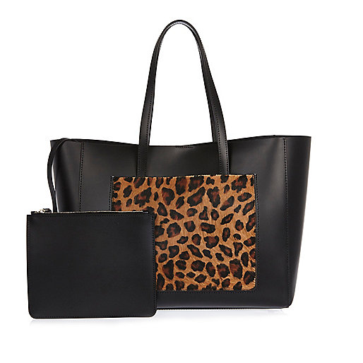 Black leather leopard print shopper