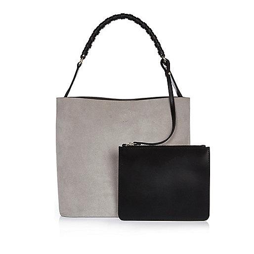 Grey suede bucket handbag with pouch