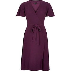 Purple wrap midi dress