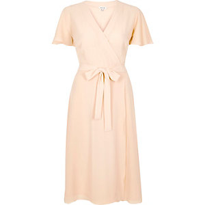 Light pink wrap midi dress