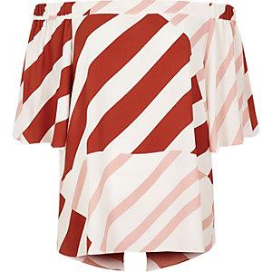 Pink stripe bardot top