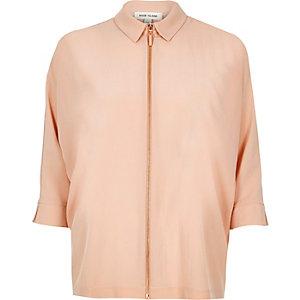 Beige zip front shirt