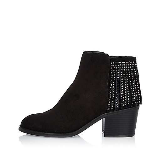 Black diamanté fringed boots