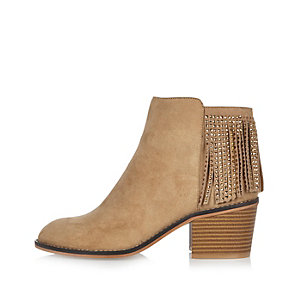 Light brown diamanté fringed boots