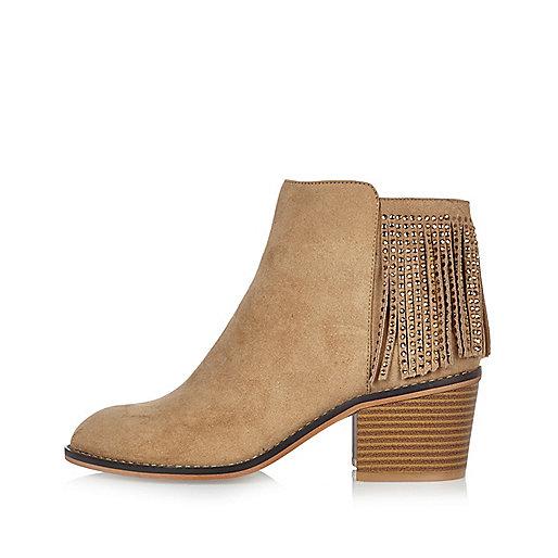 Light brown diamanté fringed boots