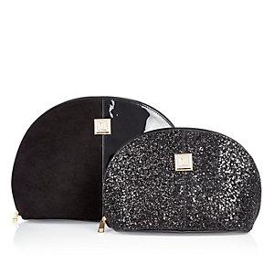 Black glitter make-up and wash bag set