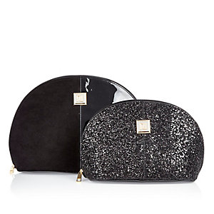Black glitter make-up and wash bag set
