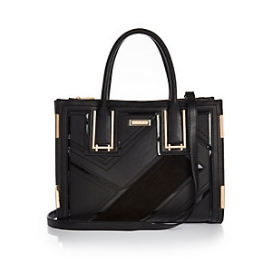 Black panelled tote handbag