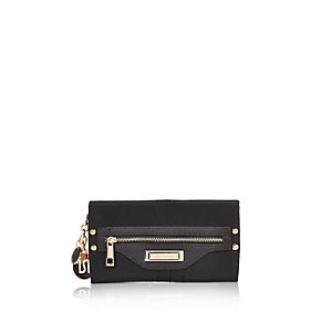 Black nylon branded foldover purse